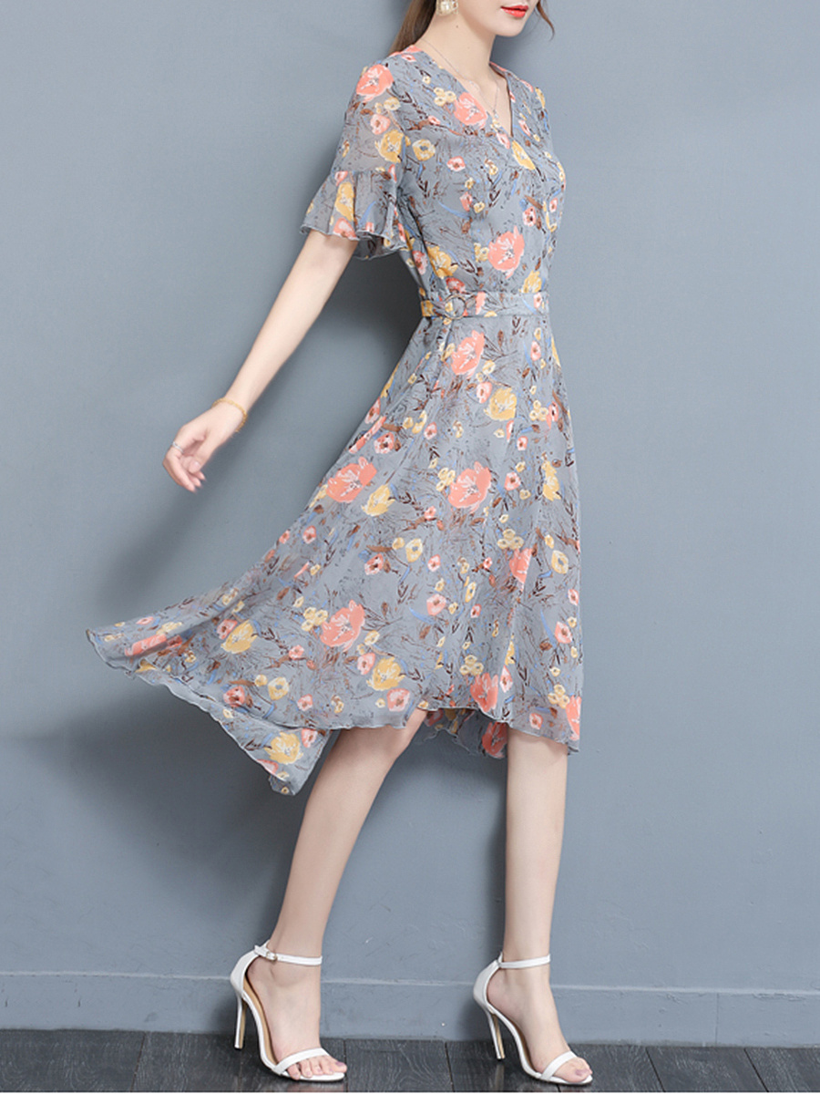 V-Neck  Floral  Chiffon High-Low Bell Sleeve Maxi Dress