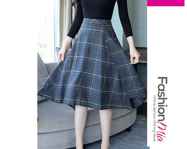 Image of Asymmetric Hem Plaid Flared Midi Skirt