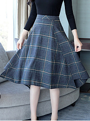 Asymmetric Hem  Plaid  Flared Midi Skirt