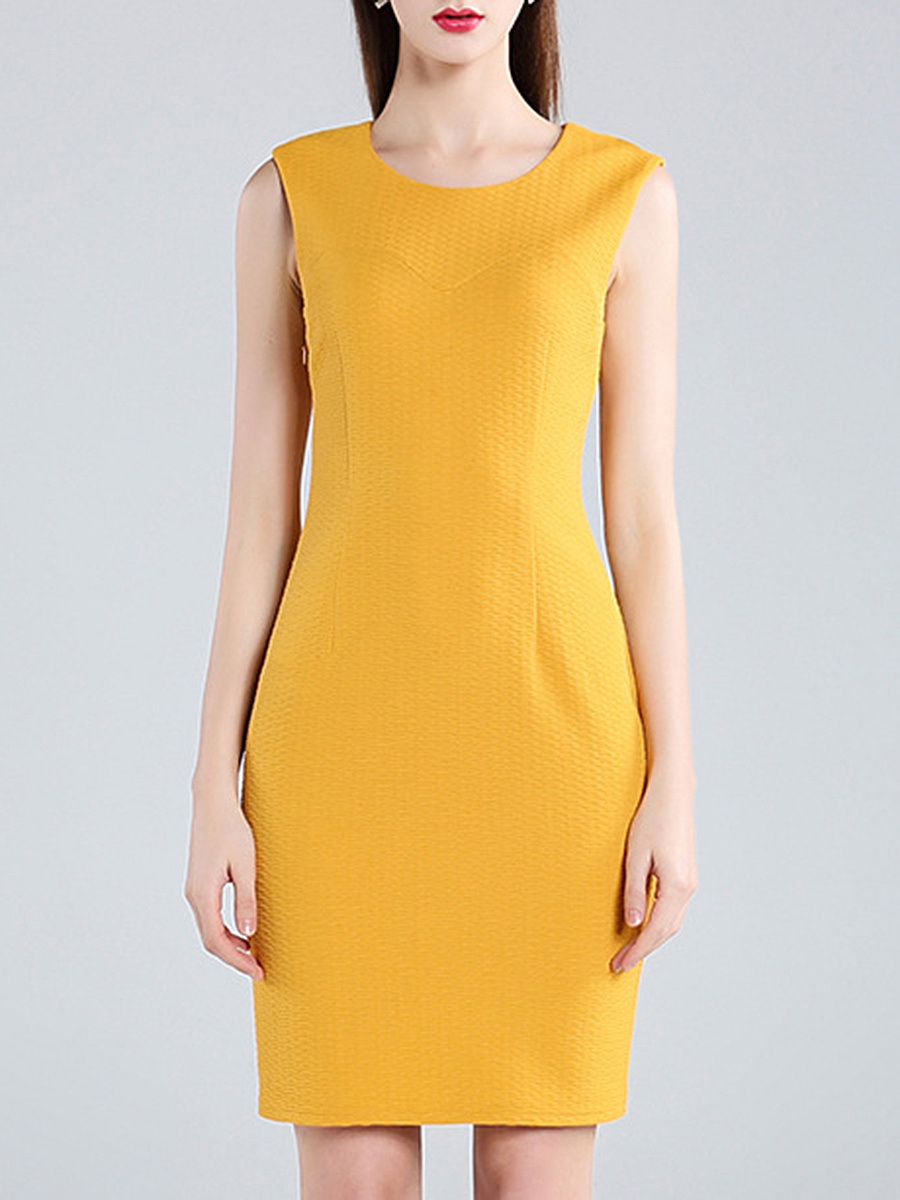 Round Neck Plain Sleeveless Bodycon Dress