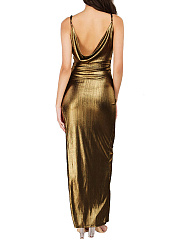 Sparkling Spaghetti Strap High Slit Plain Evening Dress