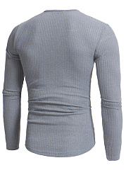 Split Neck Plain Men Knitted T-Shirt