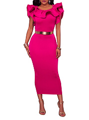Round Neck  Slit  Plain Bodycon Dress