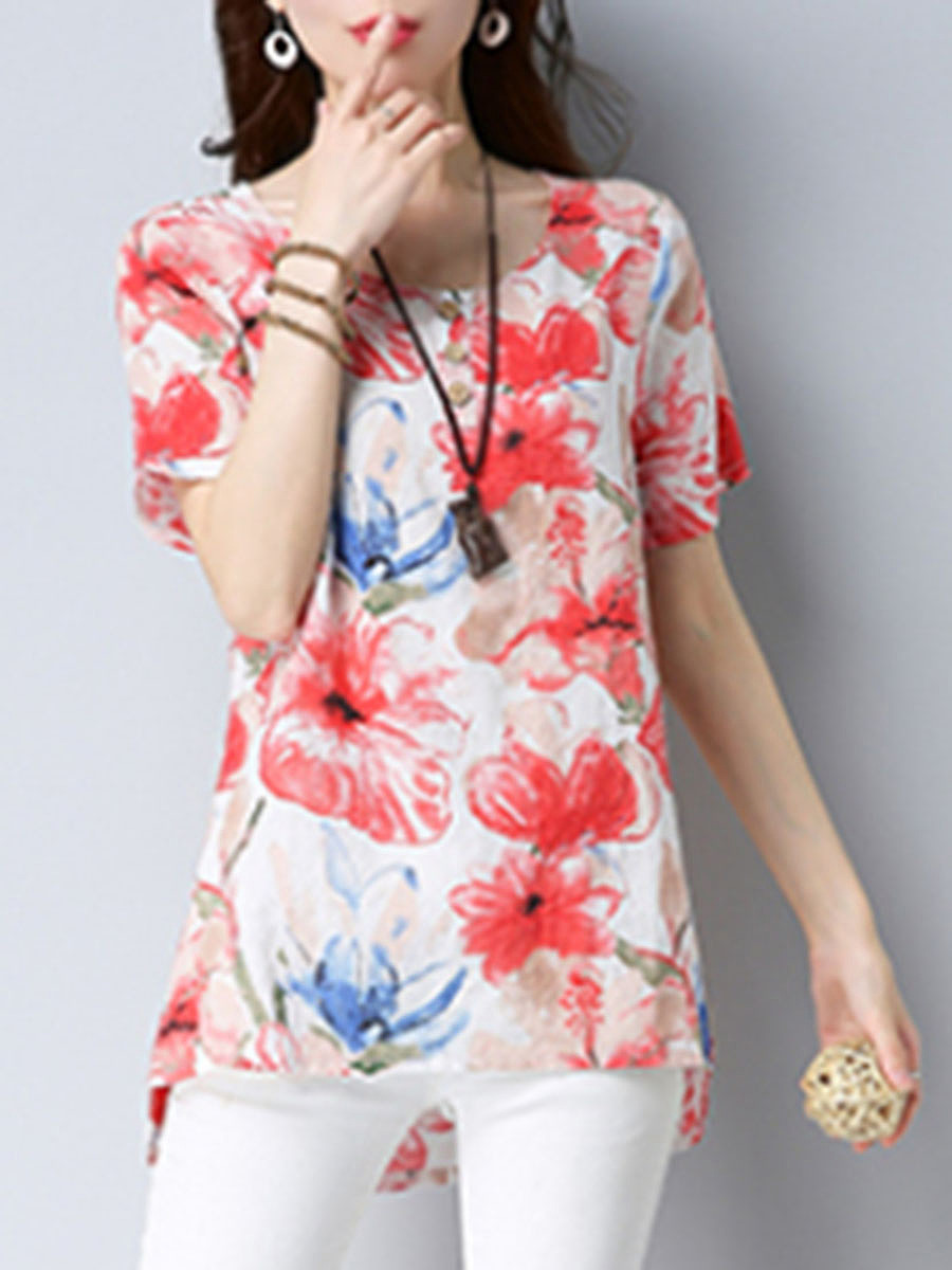High-Low Floral Printed Short Sleeve T-Shirt