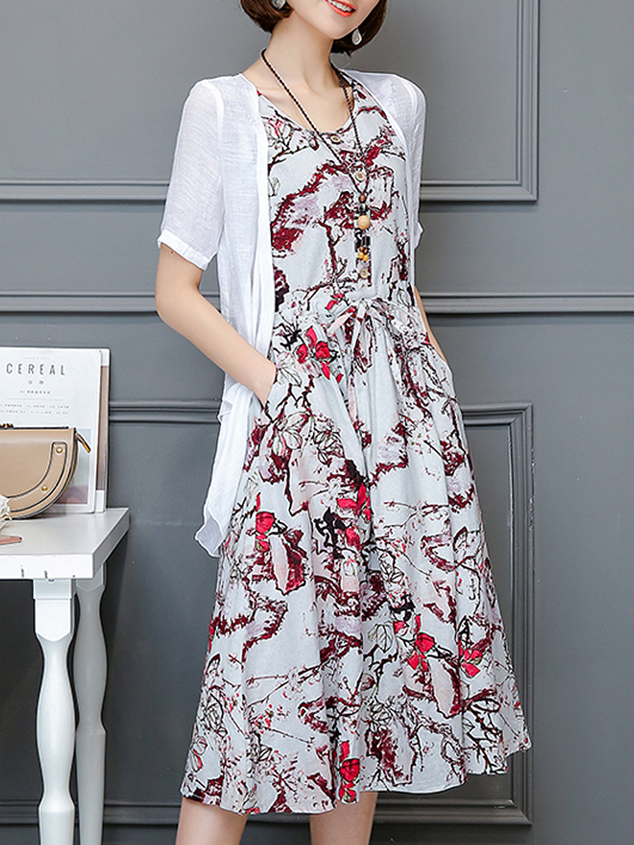 Drawstring Pocket Printed Two-Piece Maxi Dress