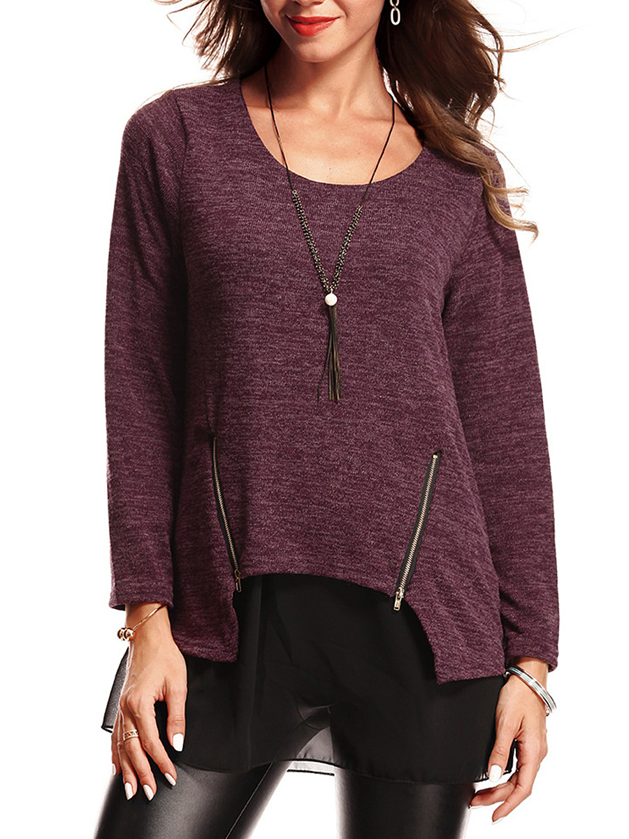 Round Neck  Patchwork Zips  Plain Long Sleeve T-Shirt