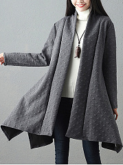 Asymmetric Hem Embossed Plain Trench Coat
