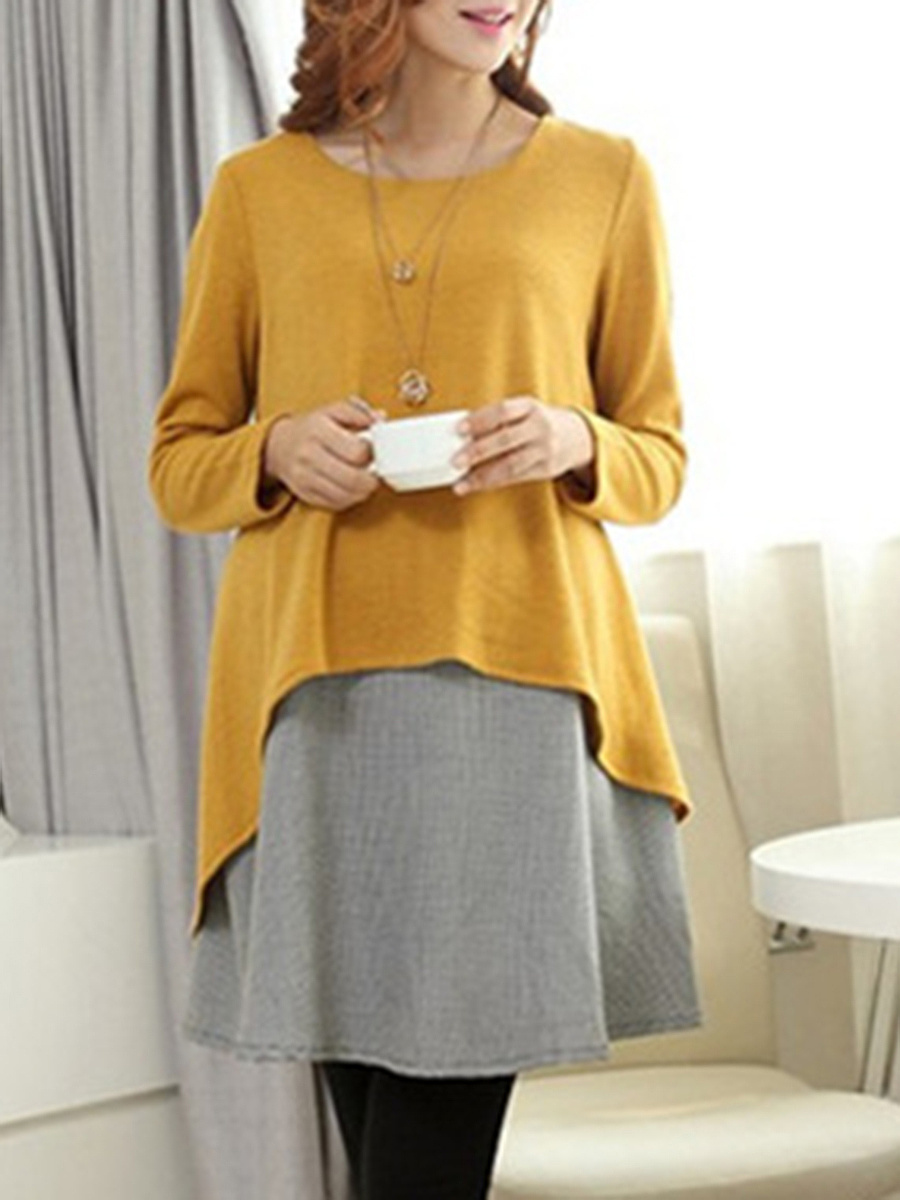 Round Neck  Fake Two-Piece  Color Block  Cotton Shift Dress