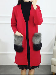 Deep V-Neck  Slit Pocket  Plain  Long Sleeve Coats