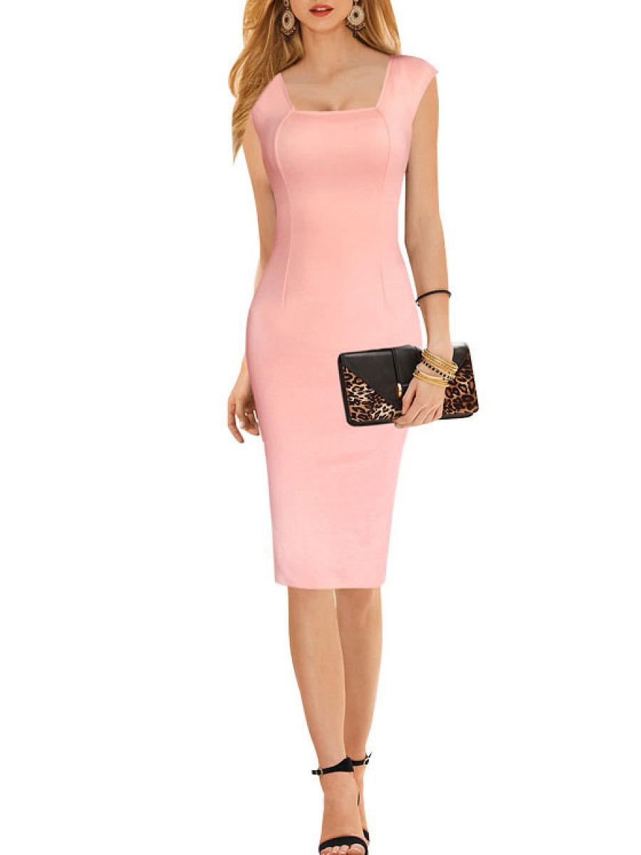 Square Neck  Plain Bodycon Dress