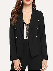 Notch Lapel  Double Breasted  Plain Blazer