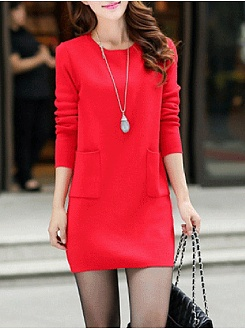 Cheap Solid Patch Pocket Mini Shift Dress