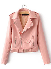 Lapel Zips Belt PU Leater Plain Biker Jacket