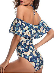 Backless  High Stretch  Abstract Print Printed One Piece