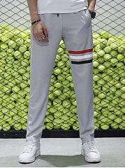 Mens-Striped-Elastic-Waist-Pocket-Casual-Pants
