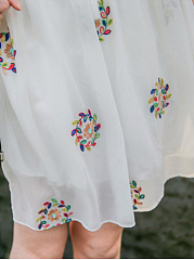 V-Neck  Embroidery Hollow Out Skater Dress
