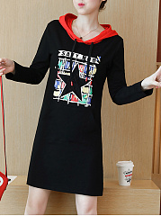 Hooded  Printed Casual Shift Dress