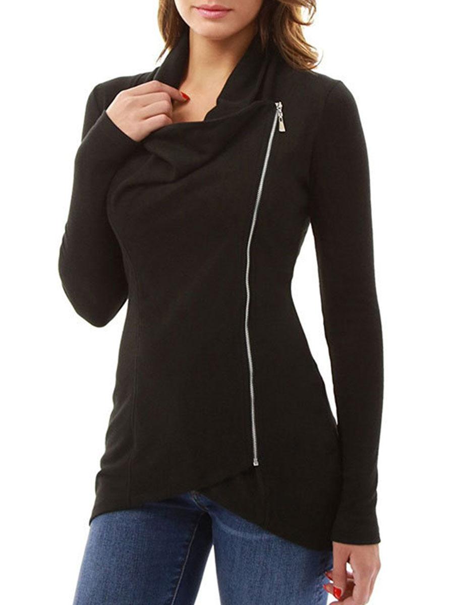 Cowl Neck Zips Plain Sweatshirts