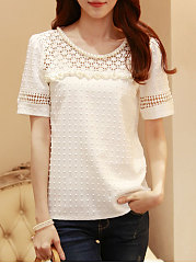 Spring Summer  Cotton  Women  Round Neck  Decorative Lace  Hollow Out  Short Sleeve Blouses