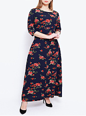 Round Neck  Printed Plus Size Midi  Maxi Dresses
