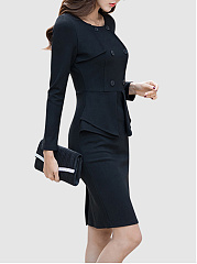 Round Neck  Double Breasted  Plain  Blend Bodycon Dress