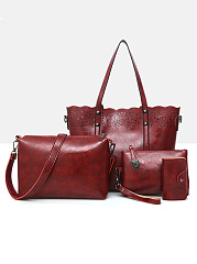 Superior Four Pieces Hollow Out  Hand Bag  Crossbody Bag