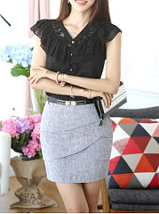 Spring Summer  Chiffon  Women  V-Neck  Decorative Lace Flounce See-Through Single Breasted  Plain  Extra Short Blouses