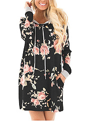 Hooded  Drawstring  Printed Shift Dress