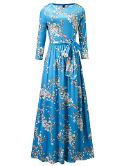 Round Neck  Elastic Waist  Floral Printed Plus Size Midi & Maxi Dress