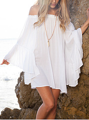 Off Shoulder  Plain Bell Sleeve Shift Dress