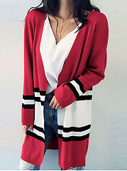 Collarless Patch Pocket Striped Long Sleeve Cardigans ...