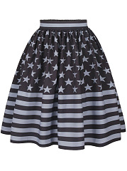 Special-Flag-Printed-Elastic-Waist-Flared-Midi-Skirt