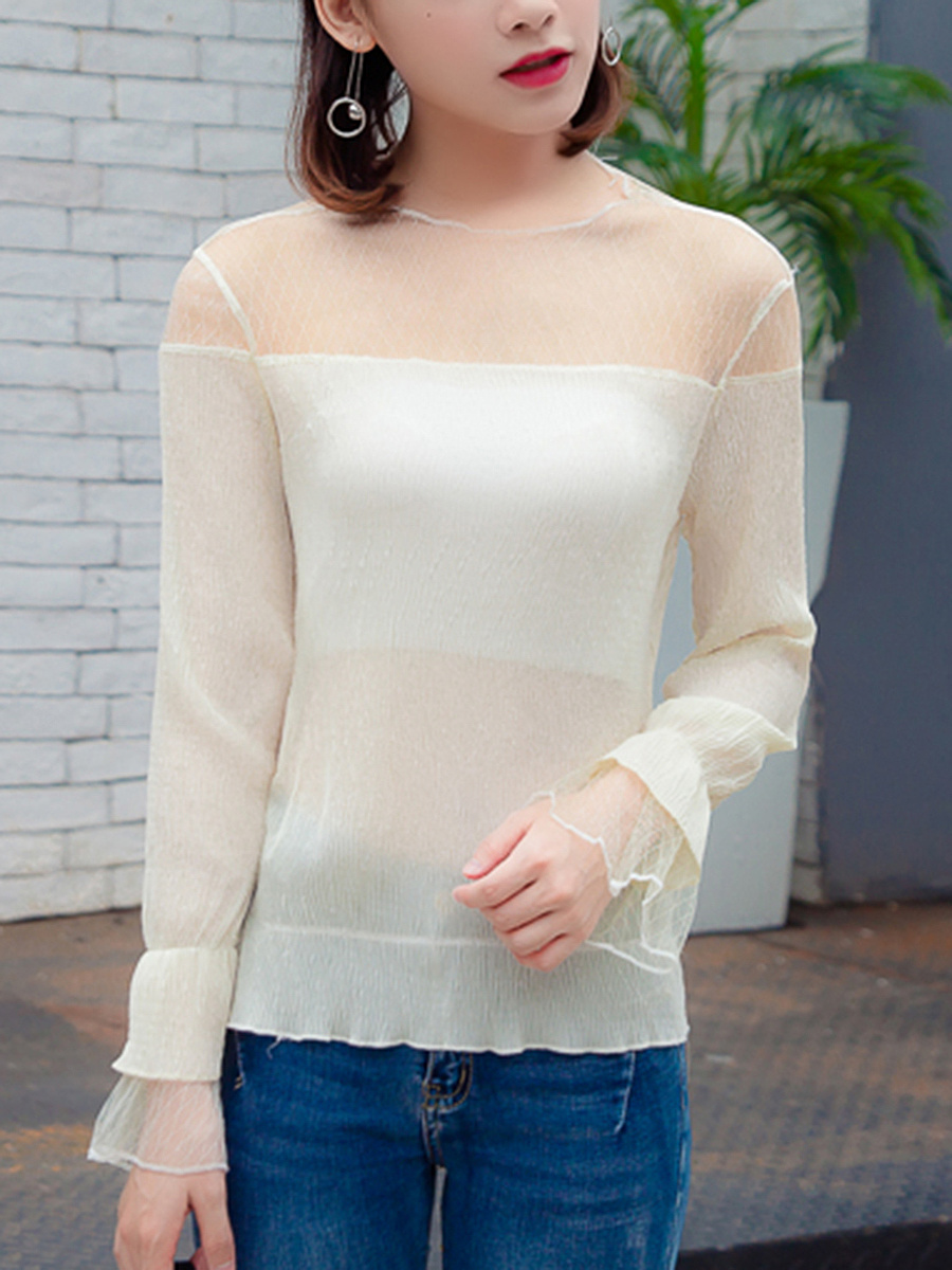 Crew Neck  See-Through  Plain  Bell Sleeve Blouse