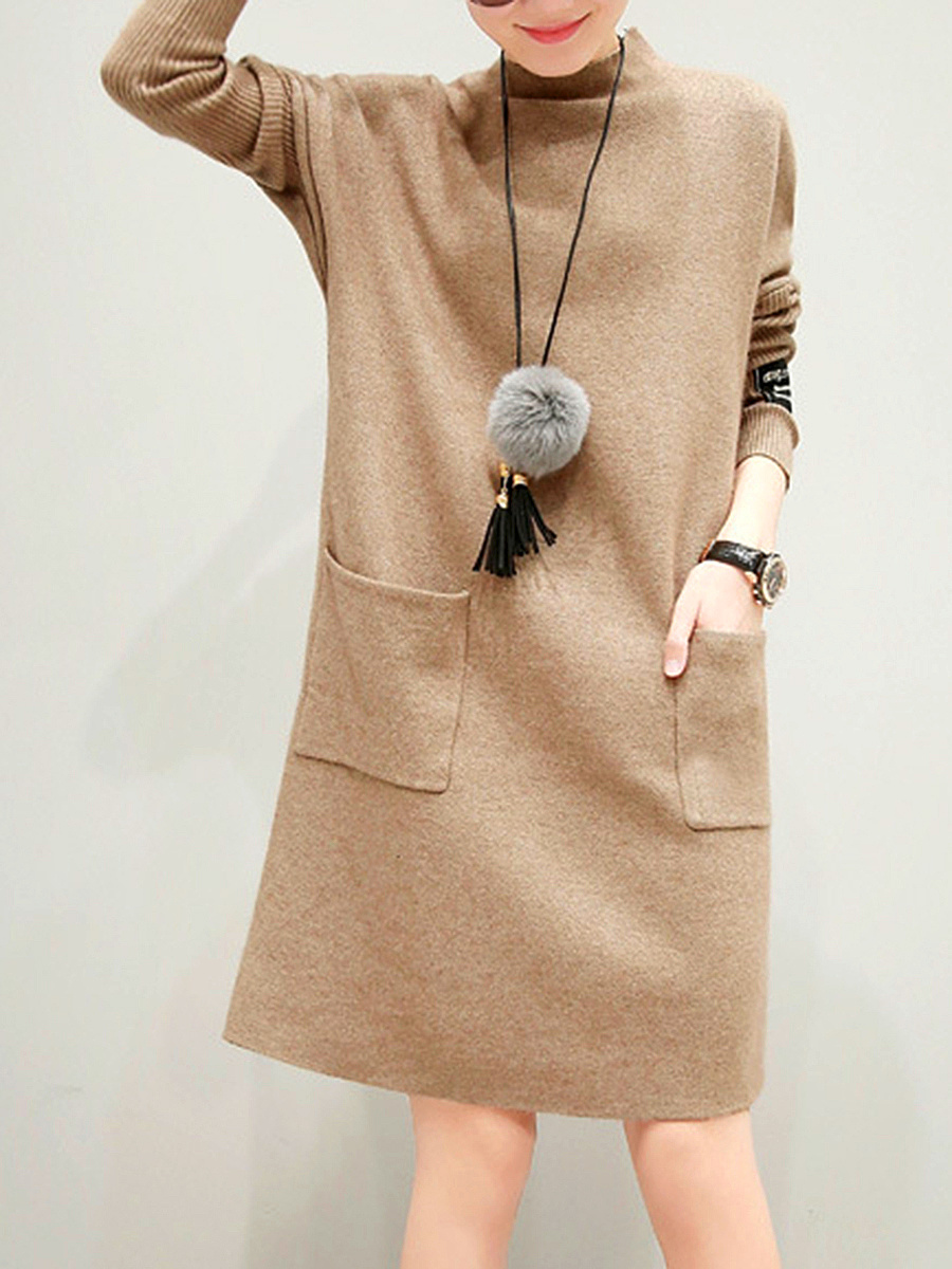 Band Collar Patch Pocket Knitted Shift Dress