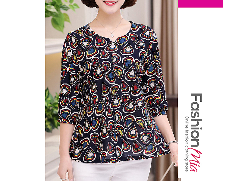 Autumn Spring  Polyester  Women  V-Neck  Floral Printed  Three-Quarter Sleeve Long Sleeve T-Shirts