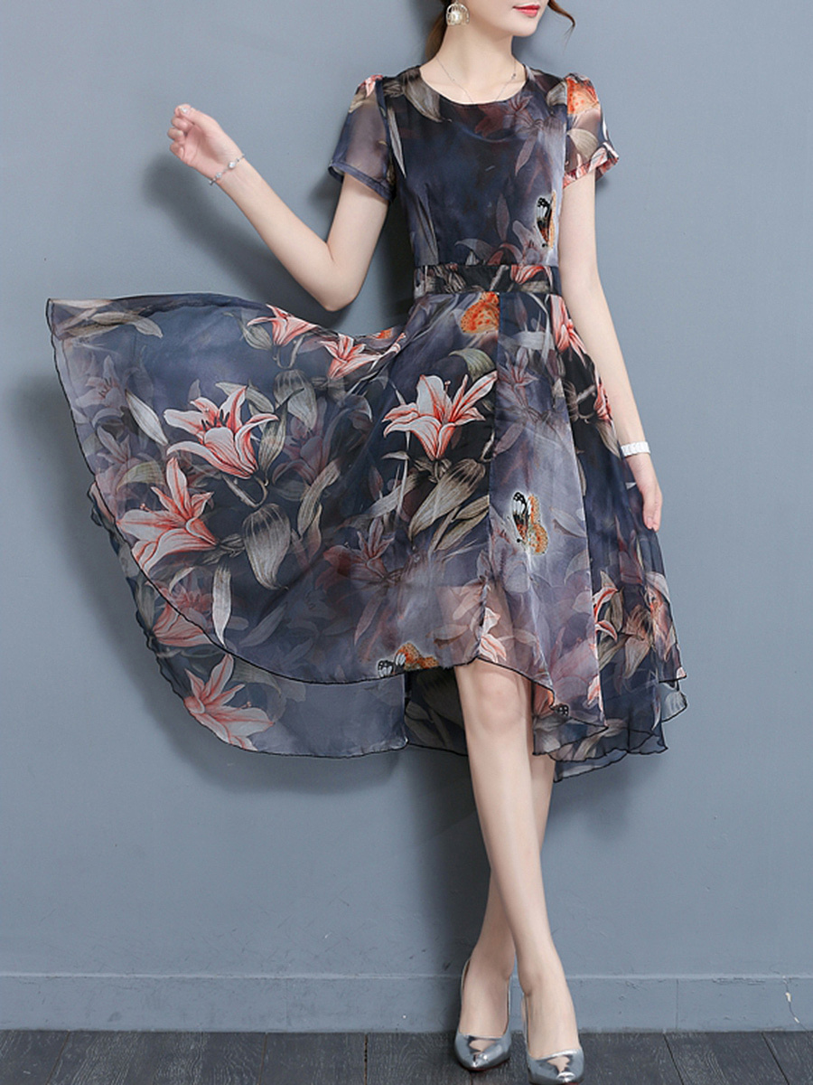 Round Neck Floral Printed High-Low Chiffon Skater Dress