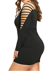 Cutout  Plain Plus Size Bodycon Dresses