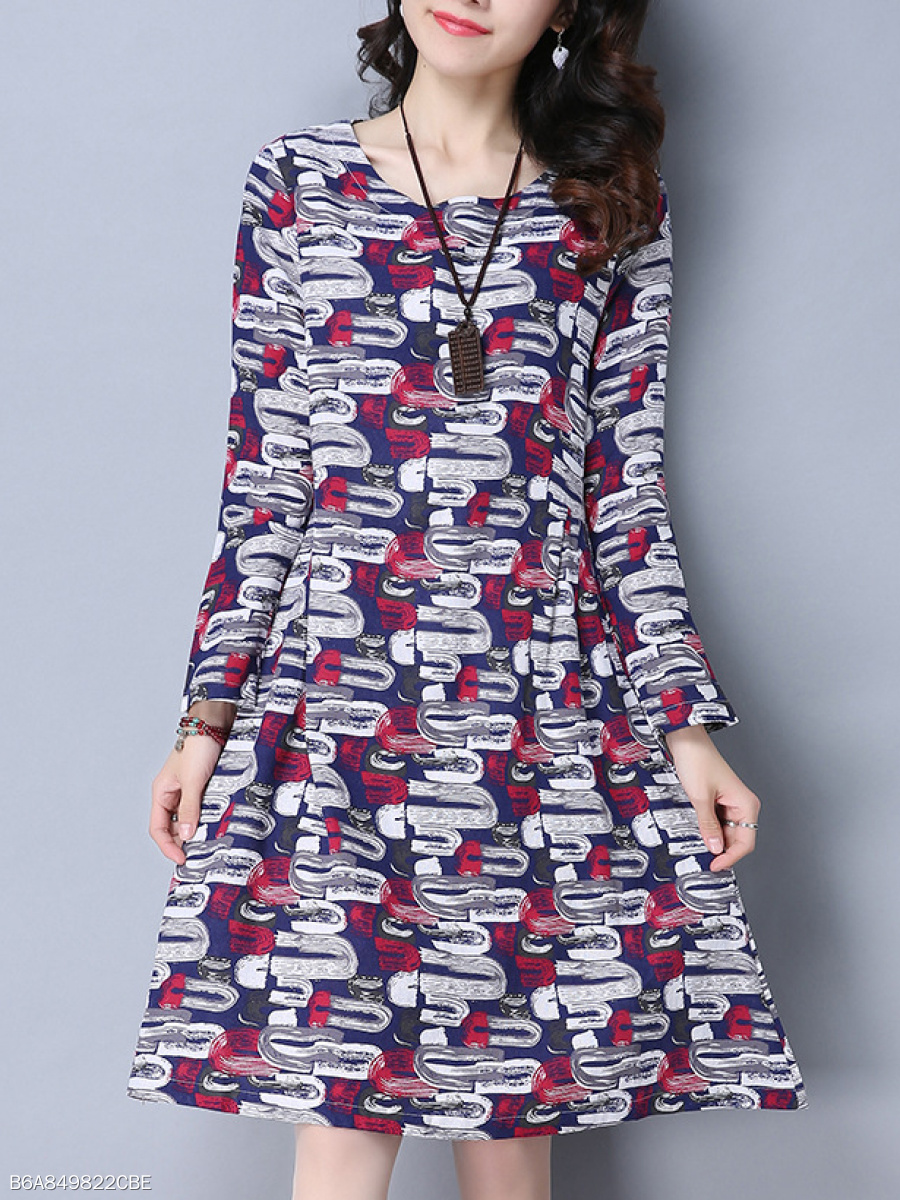 Round Neck  Ruched  Abstract Print Skater Dress