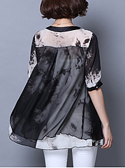 V Neck  Patchwork  Abstract Print Patchwork Blouses