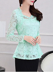 V Neck  Decorative Lace See Through  Floral Blouses