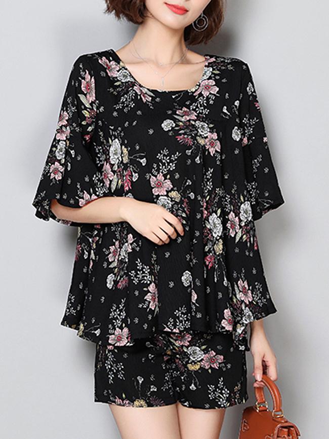 Fashionmia Round Neck  Printed Shift Dress
