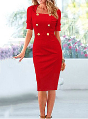 Chic Turn Down Collar Double Breasted Plain Bodycon Dress