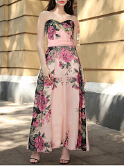 Floral Printed Evening Dress