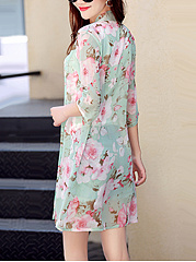 Collarless Floral Hollow Out Kimono