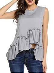 Summer  Cotton  Women  Round Neck  Asymmetric Hem  Plain  Sleeveless Blouses