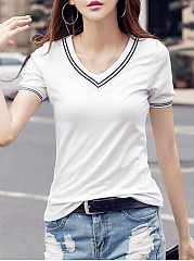 Basic-V-Neck-Striped-Short-Sleeve-T-Shirt