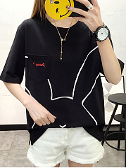 Spring Summer  Cotton  Women  Round Neck  Cartoon Embroidery  Short Sleeve Short Sleeve T-Shirts