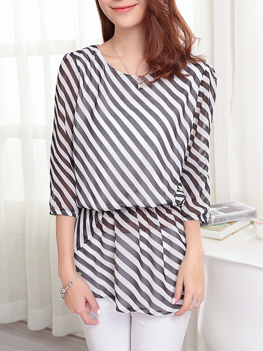 Striped Hollow Out Elastic Waist Chiffon Blouse