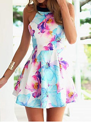 Round Neck  Abstract Print Mini Skater Dress