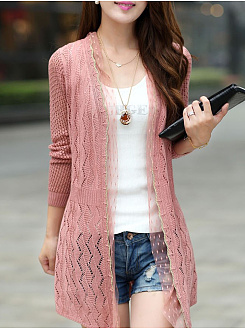 Decorative Lace  Hollow Out Plain Cardigans